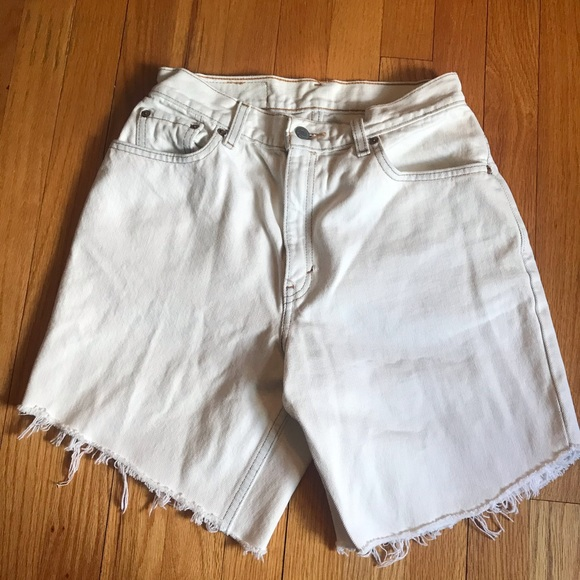 Levi's Vintage High Waisted Rise White Jean Shorts